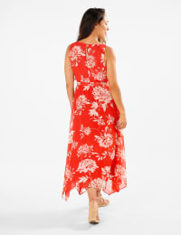 Spring Floral  Chiffon Dress - Poppy/ivory - Back