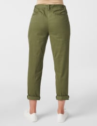 Garment Washed Twill Rolled Hem Tie Waist Pants - Olive - Back