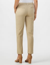 Garment Washed Twill Rolled Hem Tie Waist Pants - Tan - Back