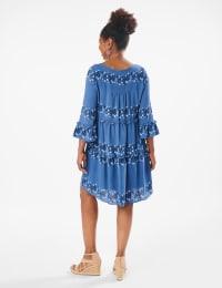 Floral Tiered Baby Doll Dress - Denim Blue - Back