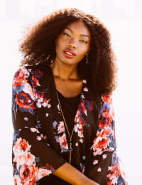 Floral Chiffon Jacket Dress - Black/Mulit - Back