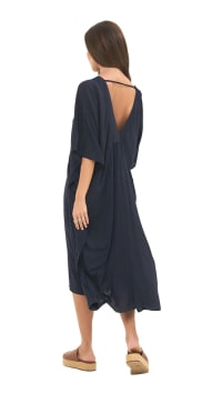 Flutter Sleeve V-Neck Tunic Dress - Navy - Back