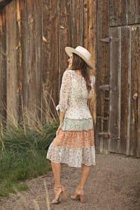 Alexa 3/4 Sleeve Mixed Ditsy Peasant Dress - Back