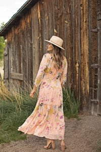 Veronica Peach Floral Peasant Maxi Dress - Back