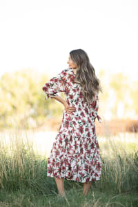 Alexa Floral Midi Peasant Dress - Ivory/maroon - Back