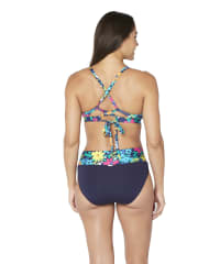 Nautica® Tropical Floral Crossback Bra Swimsuit Top - Deep Sea - Back