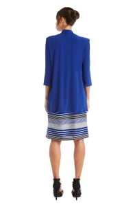 3/4 Sleeve Stripe Dress with Jacket - Royal - Back