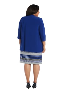 3/4 Sleeve Stripe Dress with Jacket - Plus - Royal - Back