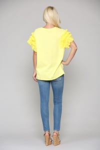 Kandice Cotton Ruffled Top - Sun - Back