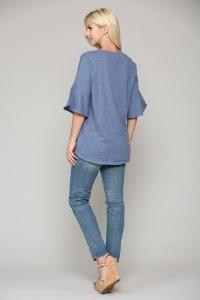 Kristina Knit Top - Denim Blue - Back