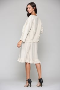 Lulu Linen Jacket - Off White - Back