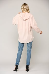 Willa Button-Front Hoodie Top - Back