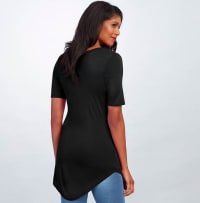 Basic V Neck Long Tee - Black - Back