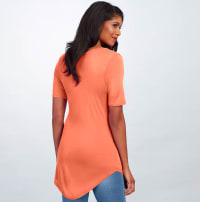 Basic V Neck Long Tee - Coral - Back