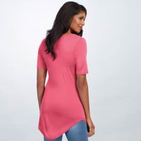 Basic V Neck Long Tee - Pink - Back