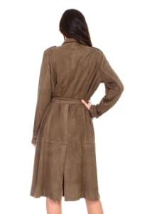 Ariana Trench Coat - Olive / Brown - Back
