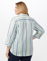 Denim Friendly Yarn Dye Stripe Shirt - Plus - Blue/Green - Back