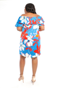 Large Floral Short Sundress - Plus - Red/Blue - Back