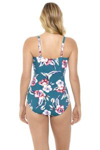 Penbrooke Vintage Floral Seamed One Piece Swimsuit - Teal - Back