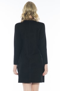 Aurora Long Sleeve Round Neck Dress - Black - Back