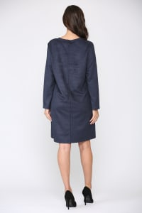 Aurora Long Sleeve Round Neck Dress - Navy - Back