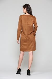 Aurora V Neck with Pockets - Caramel - Back