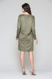 Aurora V Neck with Pockets - Olive - Back