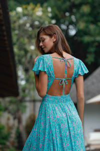 Aqua Long Dress - Aqua - Back