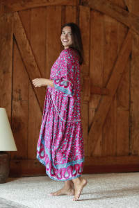 Paisley Bell Sleeve V-Neck Babydoll Dress - Pink-Teal - Back
