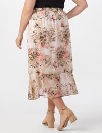 Plus Faux wrap hi low pull on skirt - Back