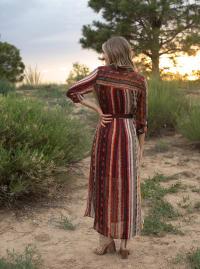 Stripe Maxi Shirt Dress - rust/Olive - Back