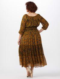 Leopard Floral Peasant Dress - Plus - Back