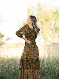 Leopard Floral Peasant Maxi Dress - mustard - Back