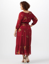 Embroidered Textured Peasant Dress - Plus - Rust - Back