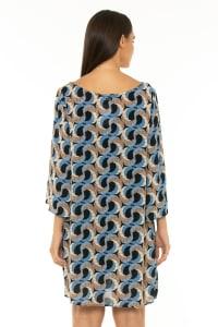 7/8 Sleeve Short Dress Escher Dark Blue - Escher Dark Blue - Back