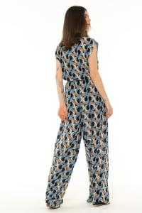 Short Sleeve Jumpsuit Escher Dark Blue - Escher Dark Blue - Back