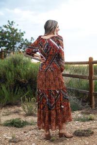 Veronica Copper Mixed Media Maxi Dress - Back