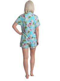 Caribbean Joe Tropical Notched Collar Shirt & Short Sleepwear Set - Blue - Back