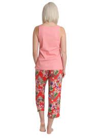 Caribbean Joe Tropical Parrot Tank & Pant Sleepwear Set - Red - Back