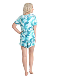 Caribbean Joe Tonal Palms Tee & Short Sleepwear Set - Blue - Back