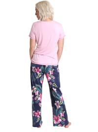 Caribbean Joe Tropical Tee & Pant Sleepwear Set - Pink/Navy - Back