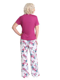Caribbean Joe Leopard Floral Tee & Pant Sleepwear Set - Berry Multi - Back