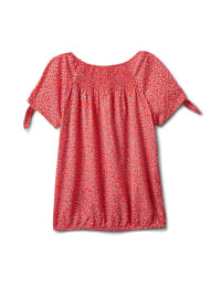 Small Pattern Smocked Grommet Top - Misses - Red - Back