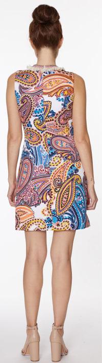 Embellished Paisley Shift Dress - Misses - Multi - Back