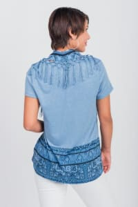 Pacific Encounter Knit Tee & Matching Scarf - Misses - Blue - Back