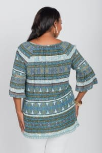 Wakeful Moment Blouse Tunic - Plus - Blue - Back