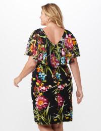 Amy Tropical Floral Dress - Plus - Black - Back