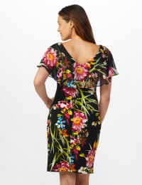 Amy Tropical Floral Dress - Black - Back