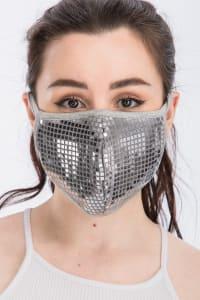 Disco Sequin Tile Fashion Face Mask - Silver - Back