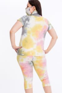Tie Dye Lounge Set With Built In Mask - Multi - Back